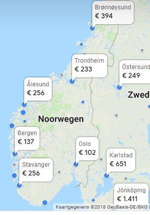 kaart vluchten malaga naar noorwegen